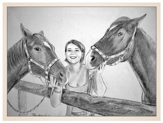 auftragsmalerei-inna-bredereck-Kohlezeichnung-pferde-frau-maedchen-halfter