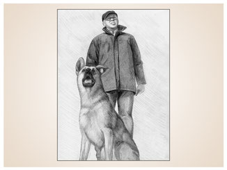 auftragsmalerei-inna-bredereck-Bleistiftzeichnung-mann-schaeferhund-gemaelde-wachehalten-hundeportrait-kunstwerk