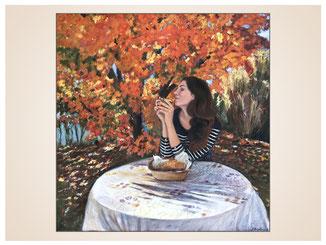 inna-bredereck-auftragsmalerei-portraitzeichnung-kunstwerk-tisch-herbst-frau-kaffetrinken