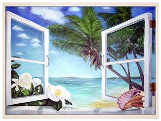 auftragsmalerei-inna-bredereck-acrylgemaelde-oelfarbe-kunstwerk-galerie-fenster-blumen-muschel-meer-palmen