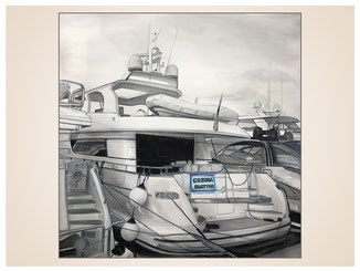 auftragsmalerei-inna-bredereck-kunstwerk-gegenstaende-gegenstandsmalerei-jacht-sportboot-hafen-kai-luxus