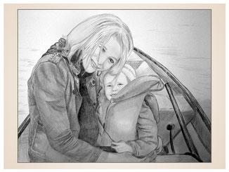 inna-bredereck-auftragsmalerei-familienportrait-kunstwerk-portraitzeichnungen-mutter-kind-frau-boot