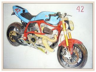 auftragsmalerei-inna-bredereck-kunstwerk-gegenstaende-gegenstandsmalerei-sportmotorrad-42-blau-rennmaschine