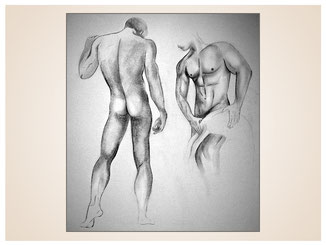 inna-bredereck-auftragsmalerei-kohlezeichnung-erotik-aktzeichnung-aktmalerei-kunstwerk-handtuch-maenner-ruecken-waschbrettbauch