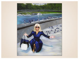 inna-bredereck-auftragsmalerei-portraitzeichnung-kunstwerk-frau-einkaufstaschen-tauben-bruecke-fluss