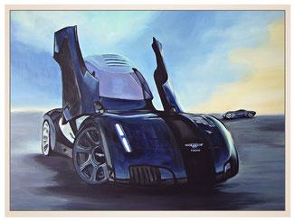auftragsmalerei-inna-bredereck-kunstwerk-gegenstaende-gegenstandsmalerei-sportwagen-blau-fluegeltueren-alufelgen