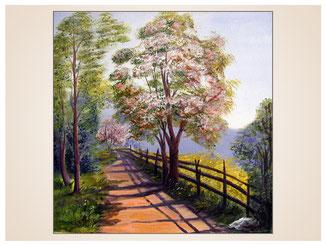 auftragsmalerei-inna-bredereck-acrylgemaelde-oelfarbe-kunstwerk-galerie-baeume-weg-holzzaun-blueten