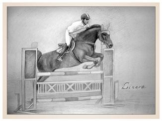 auftragsmalerei-inna-bredereck-Bleistiftzeichnung-pferdespringen-pferesport-springreiten-reiter-pferd