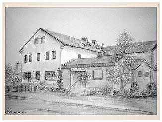 auftragsmalerei-inna-bredereck-kunstwerk-gegenstaende-gegenstandsmalerei-gasthaus-strasse-baeume-eckhaus