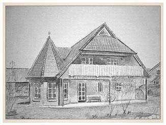 auftragsmalerei-inna-bredereck-kunstwerk-gegenstaende-gegenstandsmalerei-balkon-spitzdach-haus-garten