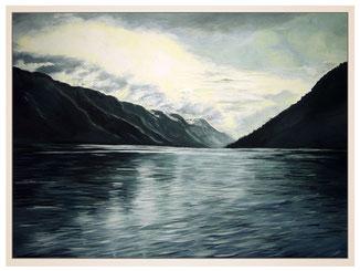 auftragsmalerei-inna-bredereck-acrylgemaelde-oelfarbe-kunstwerk-galerie-see-wasser-meerbucht-felsen-wolken