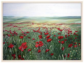 inna-bredereck-auftragsmalerei-kunstwerk-exclusiv-oelgemaelde-schloss-am-see-wasser-landschaft-see-sonnenuntergang-mohnwiese-mohnblimen-weite-himmel