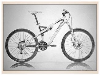 auftragsmalerei-inna-bredereck-Bleistiftzeichnung-mountenbike-fahrrad-crossrad-gemaelde-kunstwerk