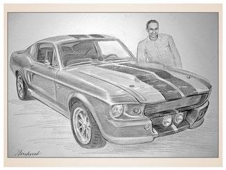 auftragsmalerei-inna-bredereck-kunstwerk-gegenstaende-gegenstandsmalerei-mustang-sportwagen-rennauto-auto-scheinwerfer