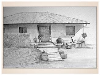 auftragsmalerei-inna-bredereck-kunstwerk-gegenstaende-bungalow-treppe-haustuer-hecke