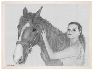 auftragsmalerei-inna-bredereck-Bleistiftzeichnung-frau-maedchen-gemaelde-pferd