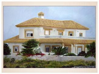 auftragsmalerei-inna-bredereck-kunstwerk-gegenstaende-gegenstandsmalerei-spanische-villa-palmen-mauer-terrasse