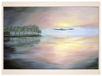 auftragsmalerei-inna-bredereck-acrylgemaelde-oelfarbe-kunstwerk-galerie-see-wasser-baeume-spiegelung-sonnenuntergang