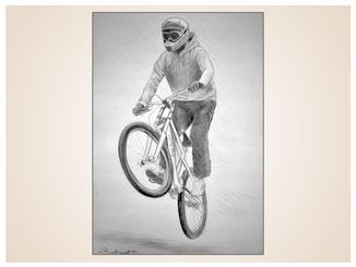 auftragsmalerei-inna-bredereck-kunstwerk-gegenstaende-gegenstandsmalerei-bike-fahrrad-helm-cross-fahrrad