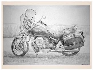 auftragsmalerei-inna-bredereck-kunstwerk-gegenstaende-gegenstandsmalerei-moto-guzzi-motorrad-fliegenschutz-windabfaenger-satteltaschen