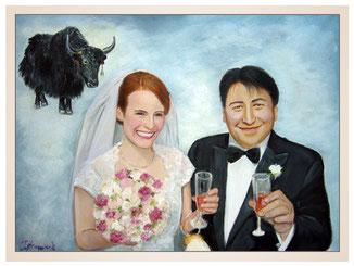 inna-bredereck-auftragsmalerei-familienportrait-kunstwerk-portraitzeichnungen-stier-bueffel-hochzeitspaar-schleier-sektglaeser