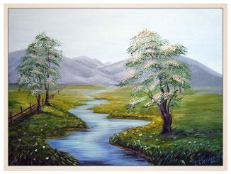 inna-bredereck-auftragsmalerei-kunstwerk-exclusiv-oelgemaelde-baeume-landschaft-berge-bachlauf-wiesenblumen-holzzaun
