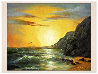 auftragsmalerei-inna-bredereck-oelgemaelde-oelfarbe-kunstwerk-galerie-meer-moeven-sonnenuntergang-felsen