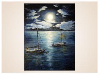 auftragsmalerei-inna-bredereck-oelgemaelde-oelfarbe-kunstwerk-galerie-boote-segelschiff-meer-vollmond-wolken