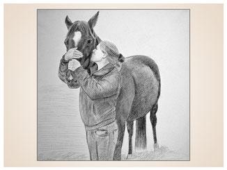 auftragsmalerei-inna-bredereck-Bleistiftzeichnung-frau-pferd-schmusen-gemaelde