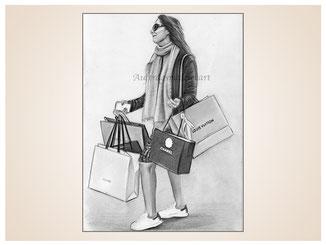 inna-bredereck-auftragsmalerei-portraitzeichnung-kunstwerk-einkaufstaschen-frau-schal-sonnenbrille