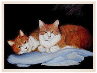 auftragsmalerei-inna-bredereck-kunstwerk-portrait-katzenduo-rote-katzen-schlafdecke