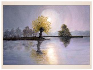 auftragsmalerei-inna-bredereck-acrylgemaelde-oelfarbe-kunstwerk-galerie-mond-spiegelung-landschaft-see-wasser-baeume