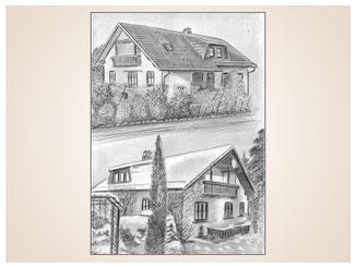 auftragsmalerei-inna-bredereck-kunstwerk-gegenstaende-gegenstandsmalerei-hausansichten-baeume-hecke-balkon-schnee-winter