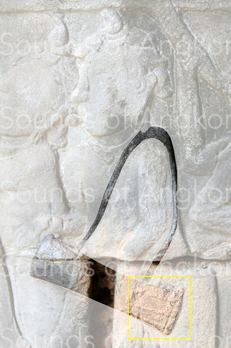 Cham drummer. This relief shows a tying similar to that of the Indian timilā. Bayon.