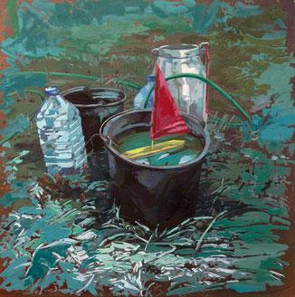SABINE BEYERLE, AHOI, 2020, Öl auf Leinwand, 40 x 40 cm, € 1.400,--