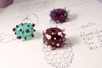 glass beads dots green grey porcelain unique handmade scribble