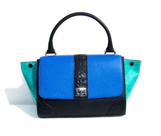 sac à main en cuir bleu et crocodile véritable fabriqué en très petite série par ml-sellier