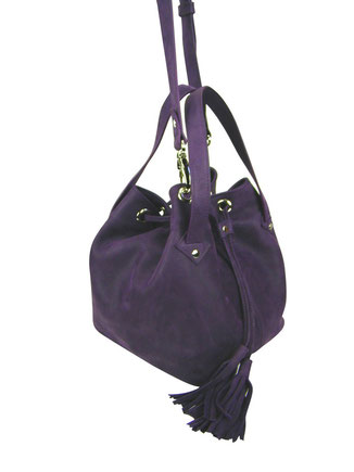 sac bourse sac seau en cuir aubergine made in france, haut de gamme