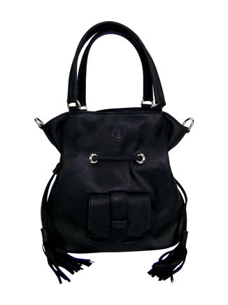 sac besace cuir noir, maroquinerie artisanale fait-main, made in France, sac bourse