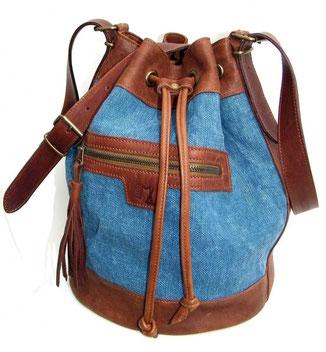 sac seau en cuir et lin fabriqué en France pièce unique en petites séries