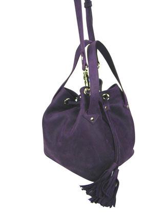sac bourse ou sac seau en cuir aubergine made in france, haut de gamme