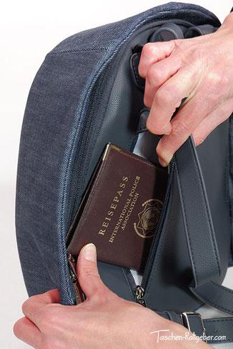 rucksack mit geheimfach am rücken, rucksack mit geheimfach