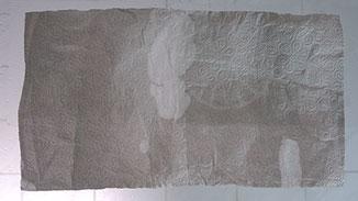 Im Test färbt die Nordkamm Packtasche nicht ab. Man erkennt, dass die Feuchtigkeit (helle Stellen) über die Reißverschlüsse ins Innere gelangt