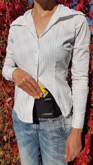 flache Bauchtasche, Taschendiebstahl verhindern, Taschendiebstahl vorbeugen