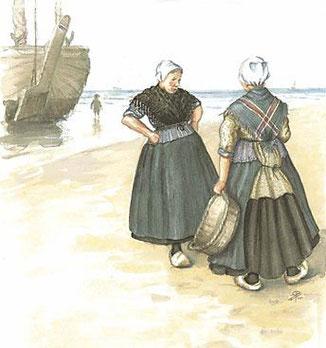 Illustratie-uit-boek-Katwijkse-Klederdrachten-door-Wil-van-der-Plas-Illustrator