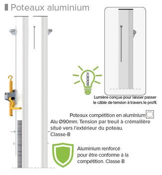 poteaux volley aluminium