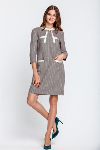 Graues Kleid mit  Ärmeln und Schleife