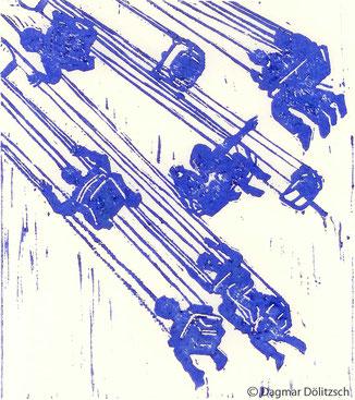 Druckgrafik, Titel: Karussell, Technik: Linolschnitt, Künstler: Dagmar Dölitzsch