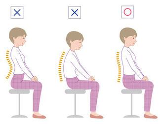 座った時も背骨のカーブが重要です
