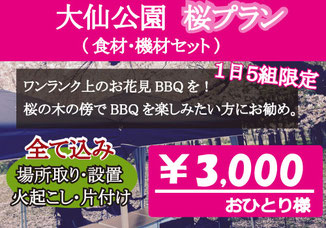 大仙公園手ぶらBBQ桜プラン